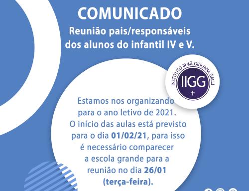 Comunicado para os Pais/responsáveis dos alunos do infantil IV e V